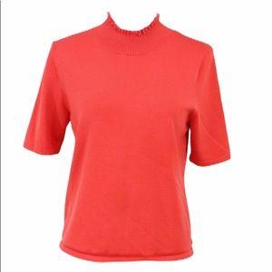 Vintage coral silk blend mock turtleneck blouse L